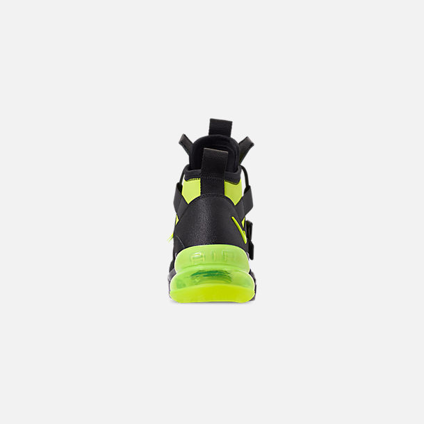 Back view of Men's Nike Air Force 270 Utility Off-Court Shoes in Black/Volt