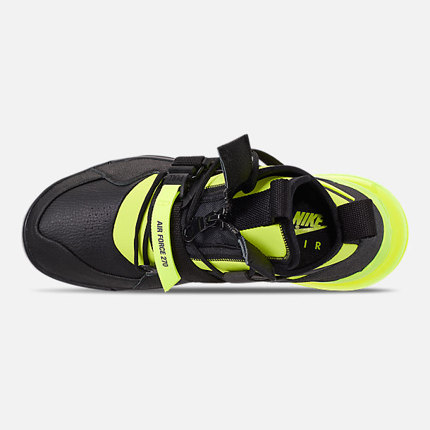 Top view of Men's Nike Air Force 270 Utility Off-Court Shoes in Black/Volt