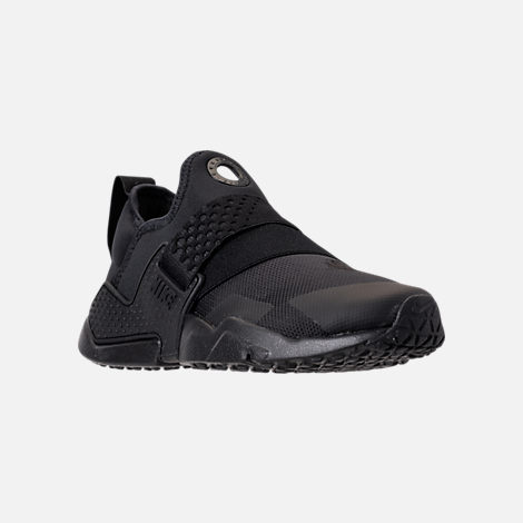 Three Quarter view of Boys' Big Kids' Nike Huarache Extreme Casual Shoes in Black/Black/Black