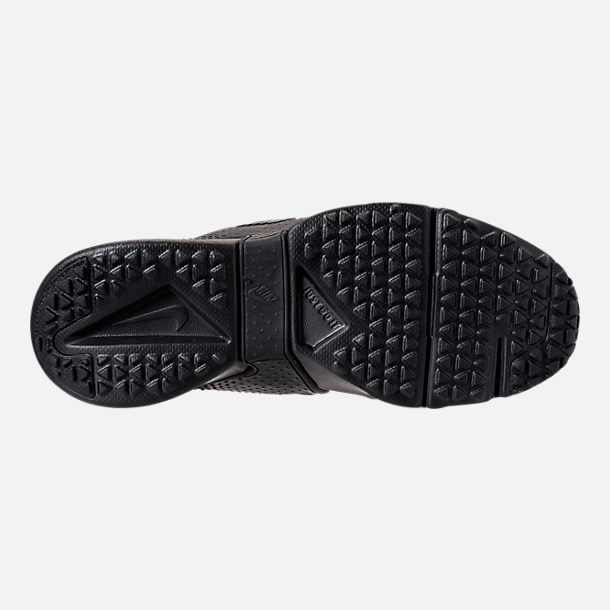 Bottom view of Boys' Big Kids' Nike Huarache Extreme Casual Shoes in Black/Black/Black