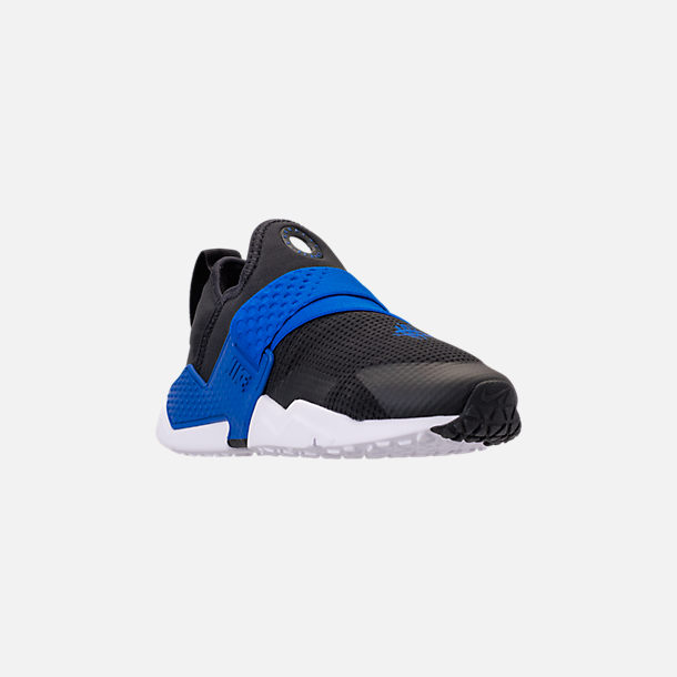 Three Quarter view of Boys' Big Kids' Nike Huarache Extreme Casual Shoes in Black/Lyon Blue/Volt