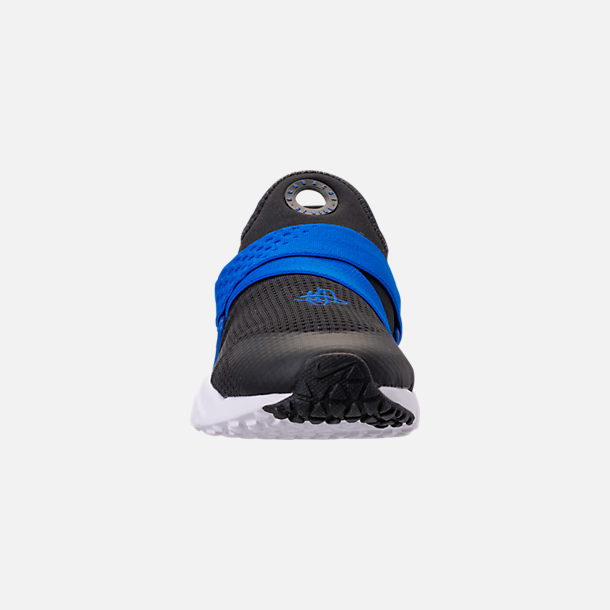 Front view of Boys' Big Kids' Nike Huarache Extreme Casual Shoes in Black/Lyon Blue/Volt