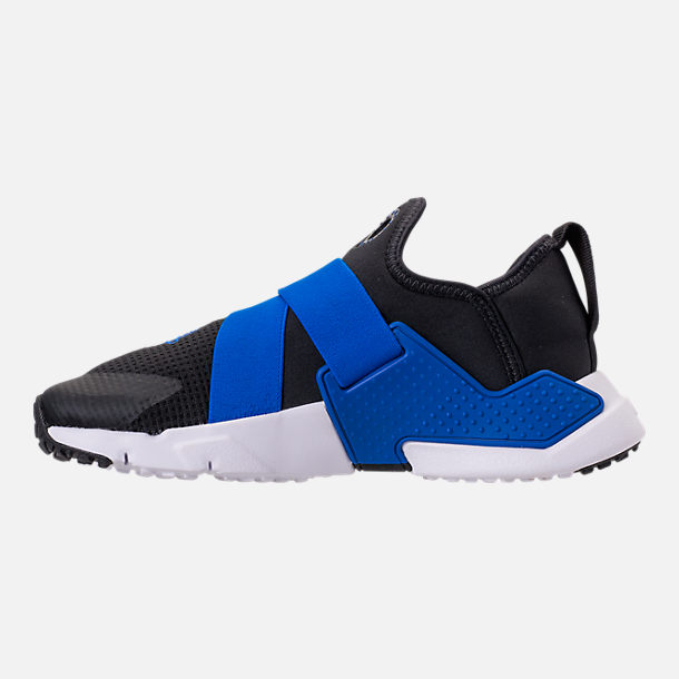 Left view of Boys' Big Kids' Nike Huarache Extreme Casual Shoes in Black/Lyon Blue/Volt