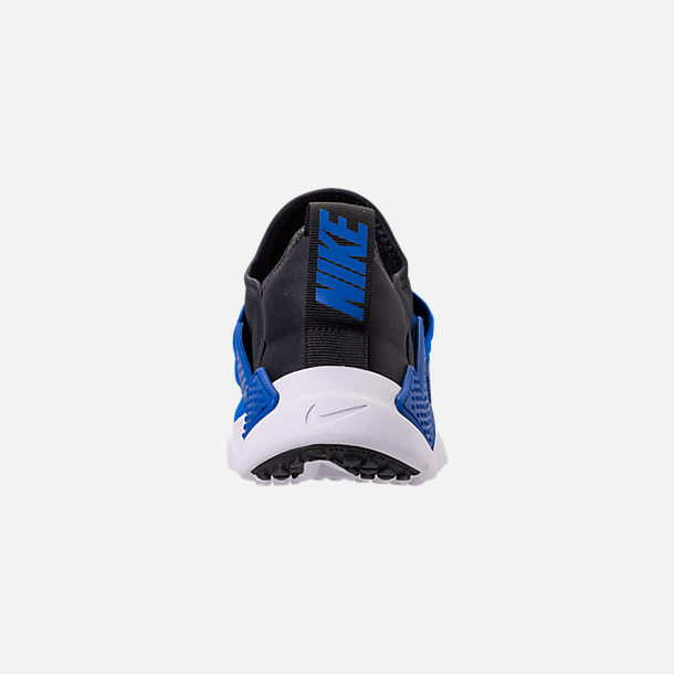 Back view of Boys' Big Kids' Nike Huarache Extreme Casual Shoes in Black/Lyon Blue/Volt