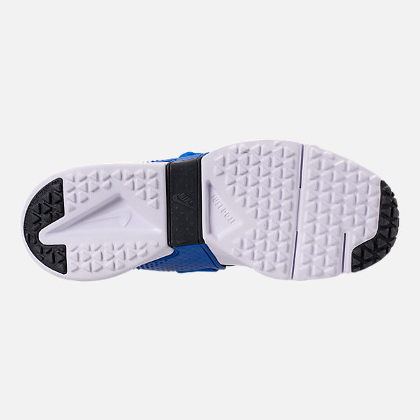Bottom view of Boys' Big Kids' Nike Huarache Extreme Casual Shoes in Black/Lyon Blue/Volt