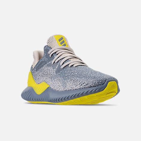 Three Quarter view of Men's adidas AlphaBounce Beyond Running Shoes in Grey/Tan/Yellow