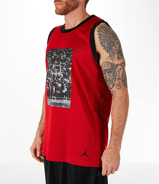 Front Three Quarter view of Men's Jordan Sportswear AJ14 Retro Tank in Red