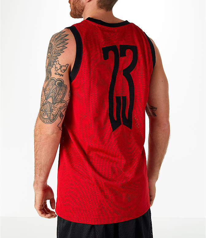 Back Left view of Men's Jordan Sportswear AJ14 Retro Tank in Red