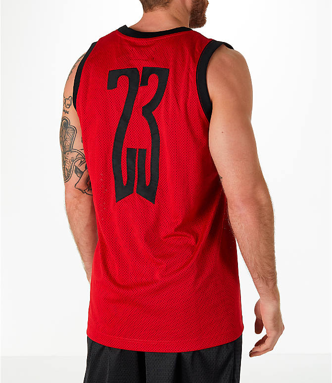 Back Right view of Men's Jordan Sportswear AJ14 Retro Tank in Red