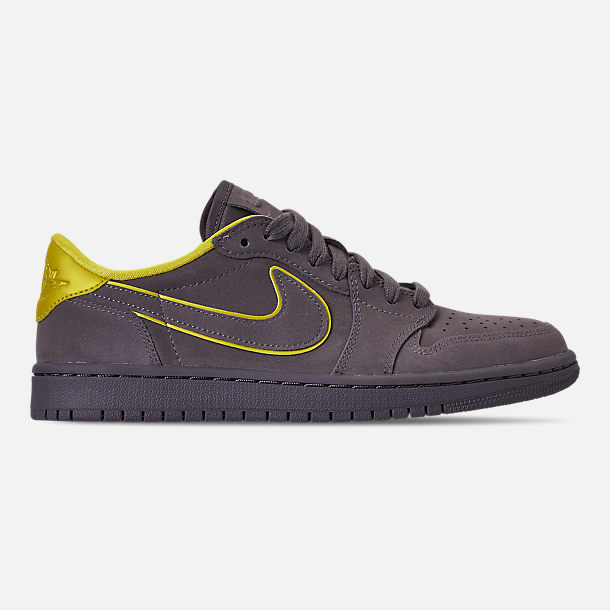Right view of Women's Air Jordan 1 Retro Low OG Casual Shoes in Thunder Grey/Bright Citron/White