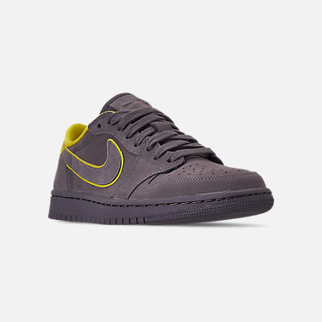 Three Quarter view of Women's Air Jordan 1 Retro Low OG Casual Shoes in Thunder Grey/Bright Citron/White