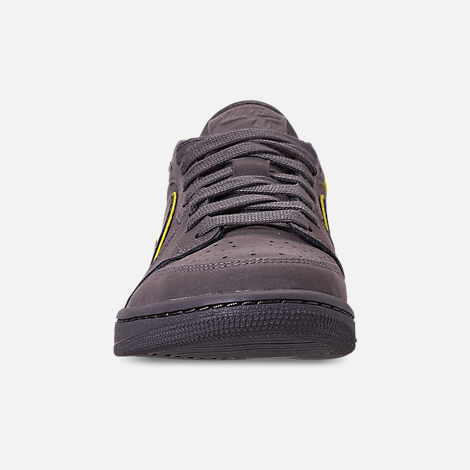 Front view of Women's Air Jordan 1 Retro Low OG Casual Shoes in Thunder Grey/Bright Citron/White