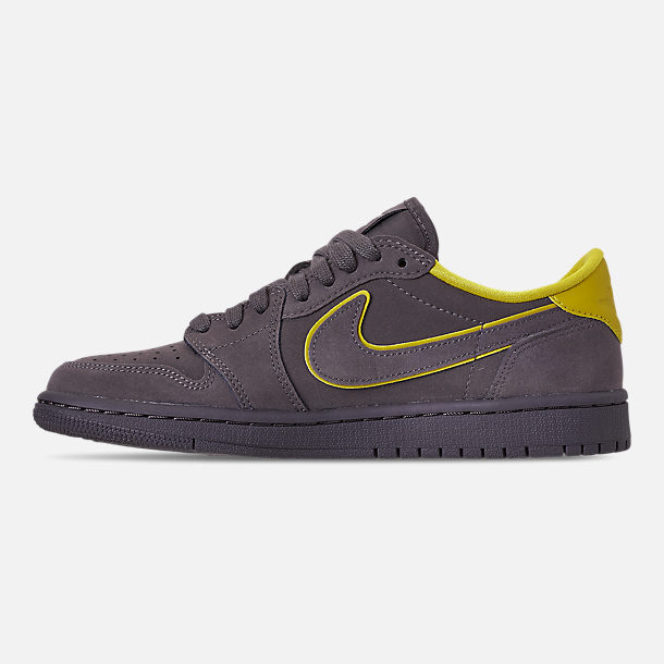 Left view of Women's Air Jordan 1 Retro Low OG Casual Shoes in Thunder Grey/Bright Citron/White
