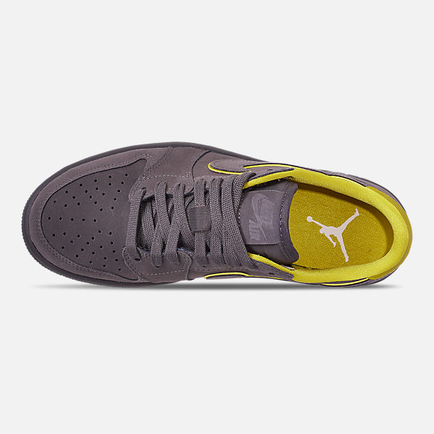 Top view of Women's Air Jordan 1 Retro Low OG Casual Shoes in Thunder Grey/Bright Citron/White
