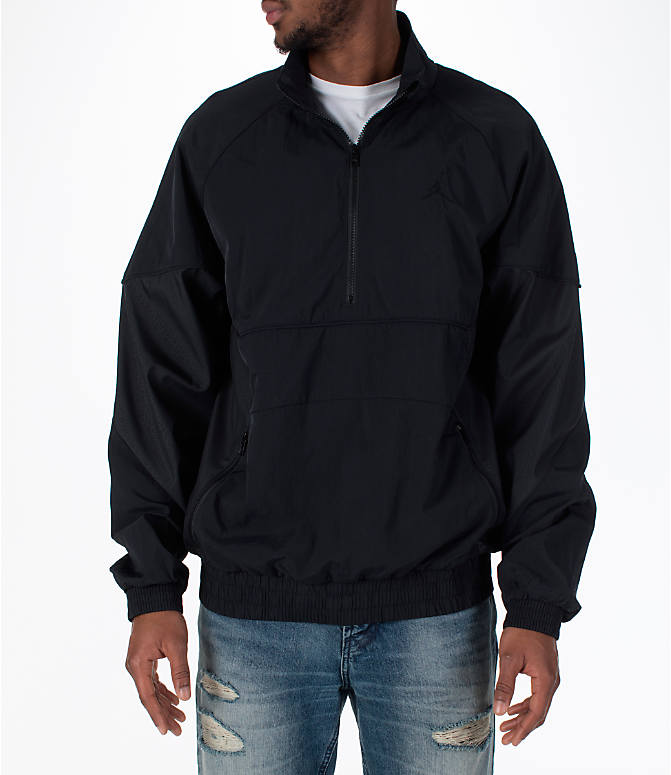 Front view of Men's Jordan AJ Retro 3 Track Jacket in Black