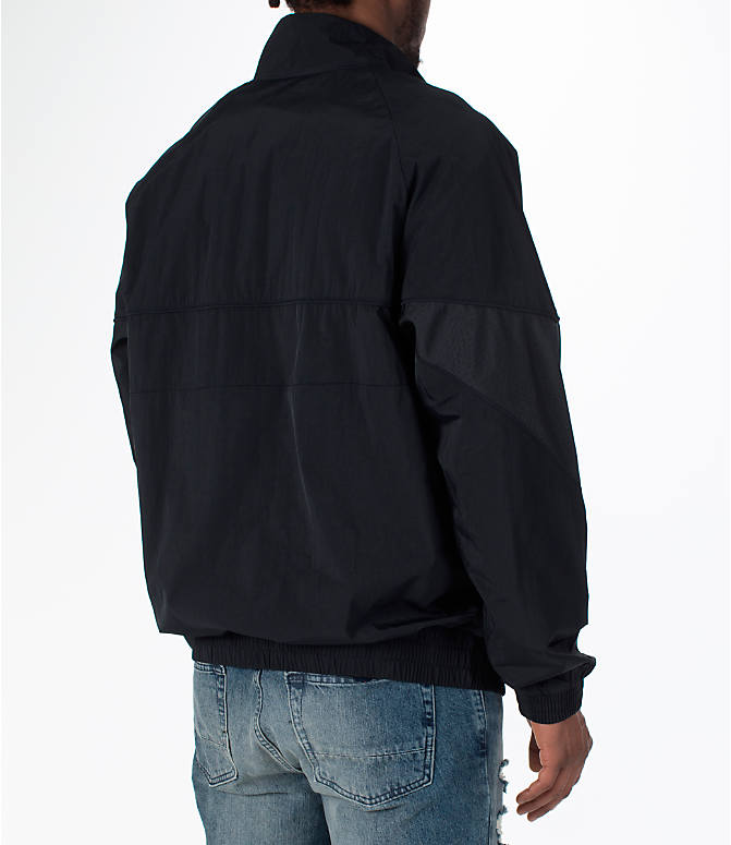Back Right view of Men's Jordan AJ Retro 3 Track Jacket in Black