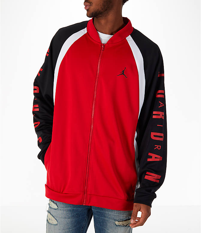 Front view of Men's Jordan Sportswear Jumpman Track Jacket in Gym Red/Black/White