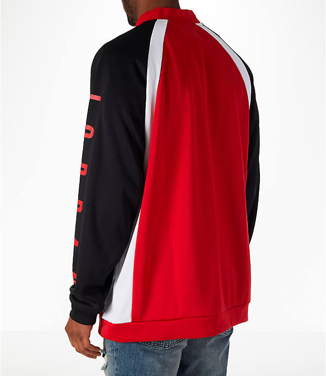 Back Left view of Men's Jordan Sportswear Jumpman Track Jacket in Gym Red/Black/White