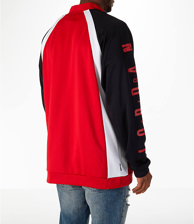 Back Right view of Men's Jordan Sportswear Jumpman Track Jacket in Gym Red/Black/White