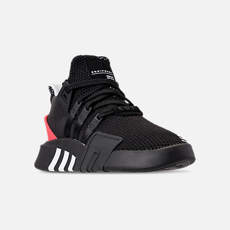 Three Quarter view of Men's adidas Originals EQT Bask ADV Off-Court Shoes in Core Black/Cloud White/Hi-Res Red