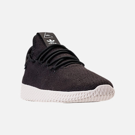 Three Quarter view of Men's adidas Originals Pharrell Williams Tennis HU Casual Shoes in Core Black/Chalk White