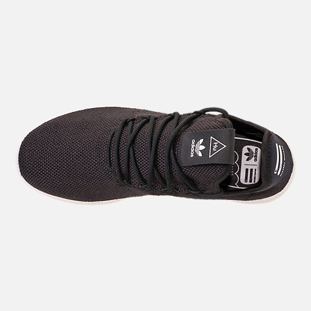 Top view of Men's adidas Originals Pharrell Williams Tennis HU Casual Shoes in Core Black/Chalk White