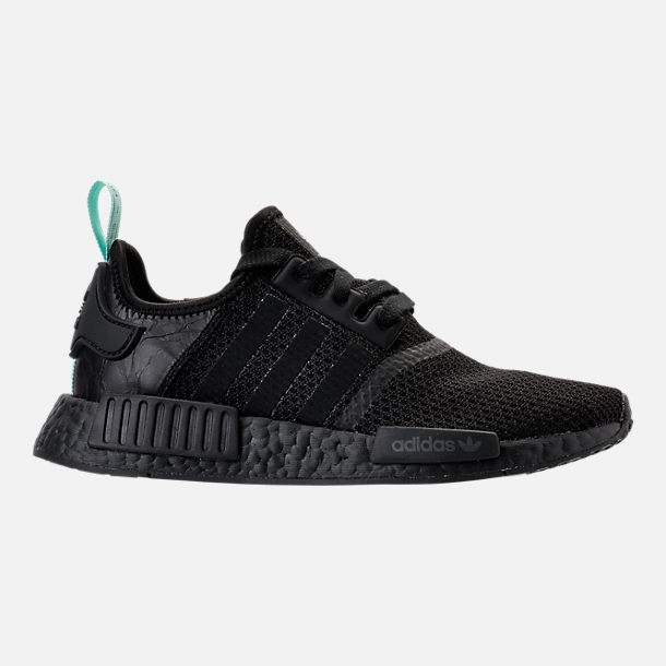 Right view of Women's adidas NMD R1 Casual Shoes in Core Black/Clear Mint