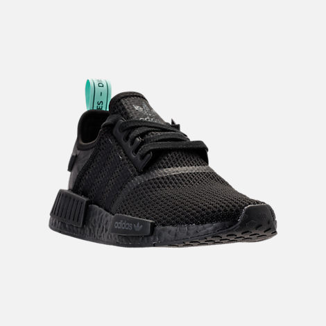 Three Quarter view of Women's adidas NMD R1 Casual Shoes in Core Black/Clear Mint