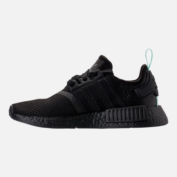 Left view of Women's adidas NMD R1 Casual Shoes in Core Black/Clear Mint