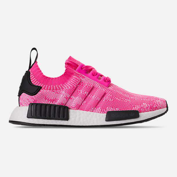 Right view of Womens adidas NMD R1 Primeknit Casual Shoes in Solar  PinkSolar Pink