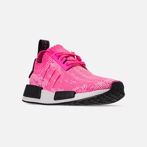 Three Quarter view of Women's adidas NMD R1 Primeknit Casual Shoes in Solar Pink/Solar Pink/Core Black