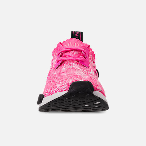 Front view of Women's adidas NMD R1 Primeknit Casual Shoes in Solar Pink/Solar Pink/Core Black
