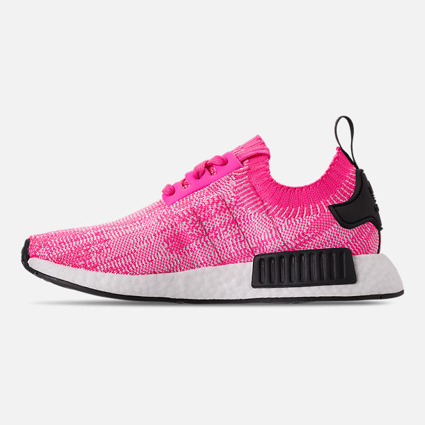 Left view of Women's adidas NMD R1 Primeknit Casual Shoes in Solar Pink/Solar Pink/Core Black