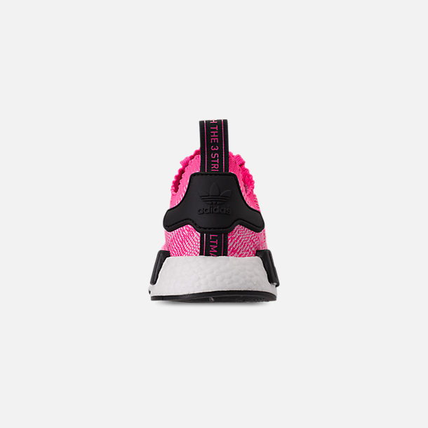 Back view of Women's adidas NMD R1 Primeknit Casual Shoes in Solar Pink/Solar Pink/Core Black