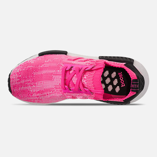 Top view of Women's adidas NMD R1 Primeknit Casual Shoes in Solar Pink/Solar Pink/Core Black
