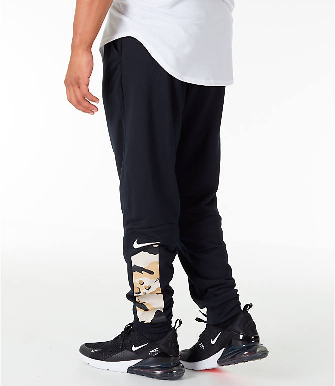 Front view of Men's Nike Dry Camo Cuffed Training Pants in Black