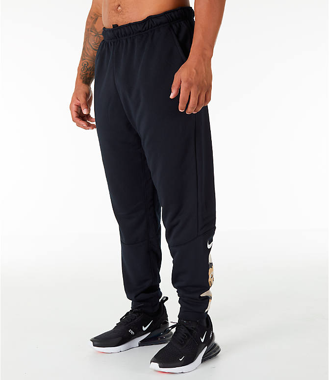 Front Three Quarter view of Men's Nike Dry Camo Cuffed Training Pants in Black