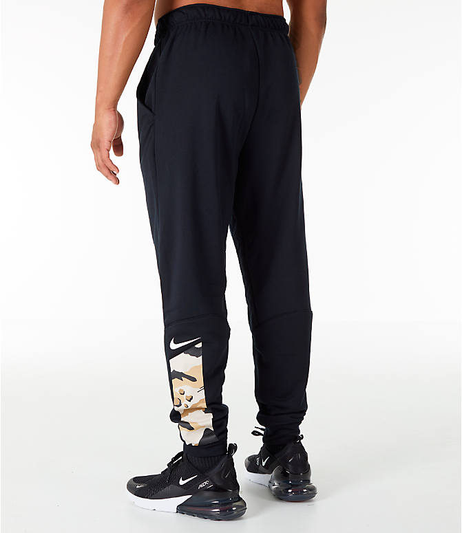Back Left view of Men's Nike Dry Camo Cuffed Training Pants in Black