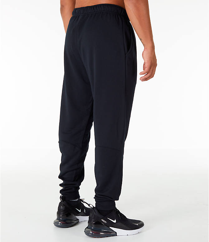 Back Right view of Men's Nike Dry Camo Cuffed Training Pants in Black
