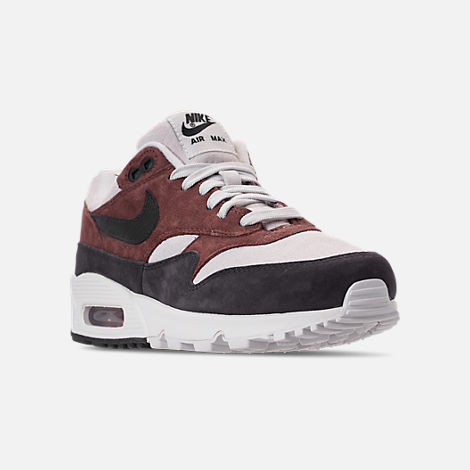 Three Quarter view of Women's Nike Air Max 90/1 Casual Shoes in Red Sepia/Oil Grey/Vast Grey