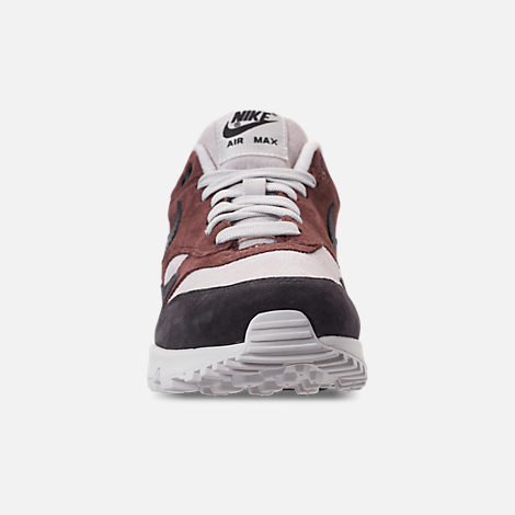 Front view of Women's Nike Air Max 90/1 Casual Shoes in Red Sepia/Oil Grey/Vast Grey