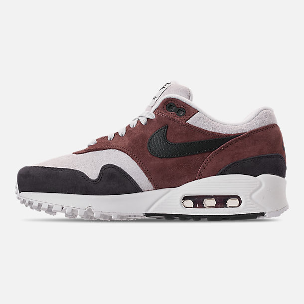 Left view of Women's Nike Air Max 90/1 Casual Shoes in Red Sepia/Oil Grey/Vast Grey