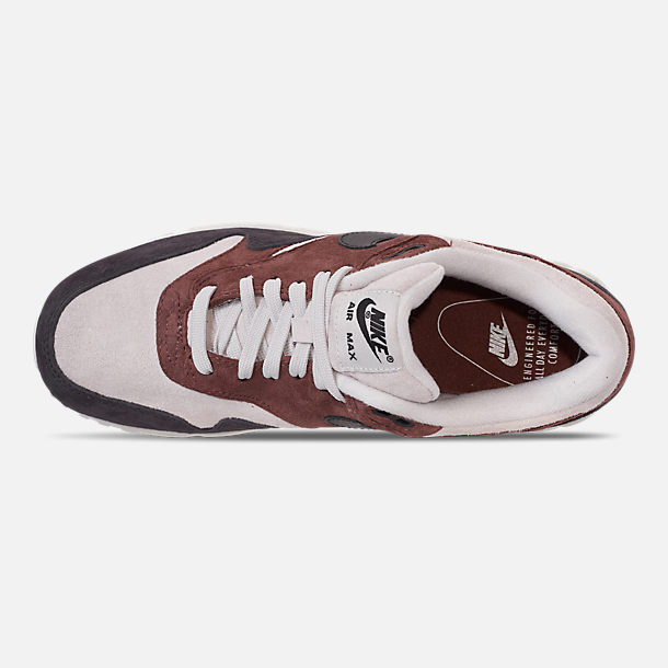 Top view of Women's Nike Air Max 90/1 Casual Shoes in Red Sepia/Oil Grey/Vast Grey