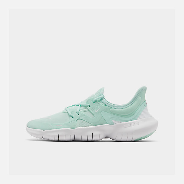 Right view of Women's Nike Free RN 5.0 Running Shoes in Teal Tint/White