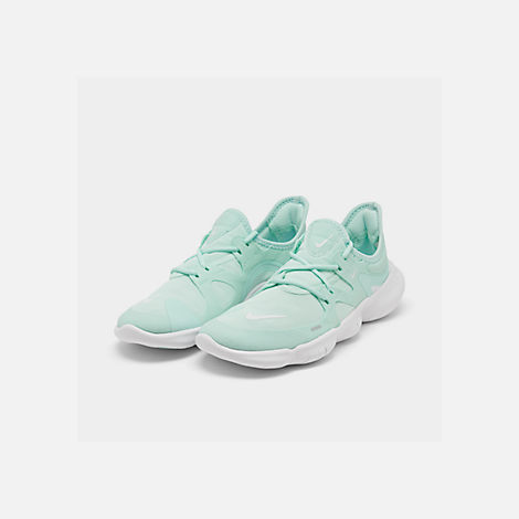 Three Quarter view of Women's Nike Free RN 5.0 Running Shoes in Teal Tint/White