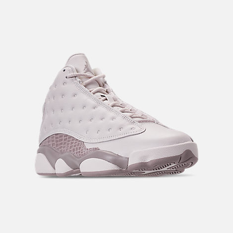 Three Quarter view of Women's Air Jordan Retro 13 Basketball Shoes in Phantom/Moon Particle