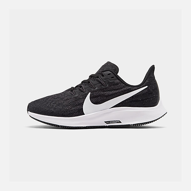 Right view of Men's Nike Air Zoom Pegasus 36 Running Shoes in Black/White/Thunder Grey