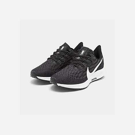 d9f7957e8 Three Quarter view of Men's Nike Air Zoom Pegasus 36 Running Shoes in Black/ White