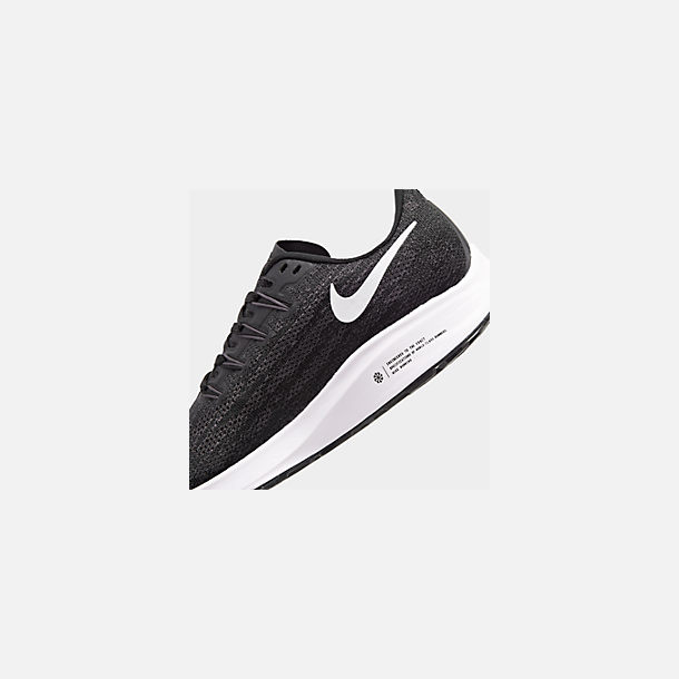 Front view of Men's Nike Air Zoom Pegasus 36 Running Shoes in Black/White/Thunder Grey