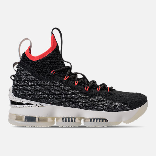 Right view of Men's Nike LeBron 15 Basketball Shoes in Black/Sail/Bright Crimson